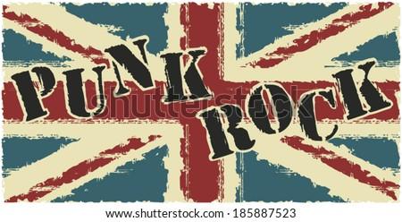 Punk rock british grunge flag - stock vector
