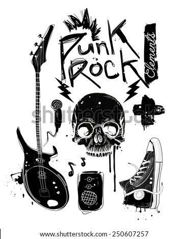 Punk Rock Elements. Vector set - stock vector