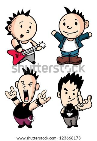 punk rocker cartoon - stock vector