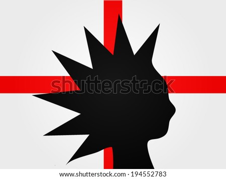 Punk Silhouette over the English Flag - stock vector