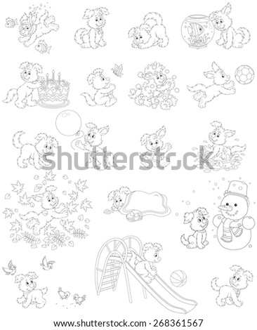 Pup playing - stock vector