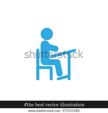 pupil chair and desk - stock vector