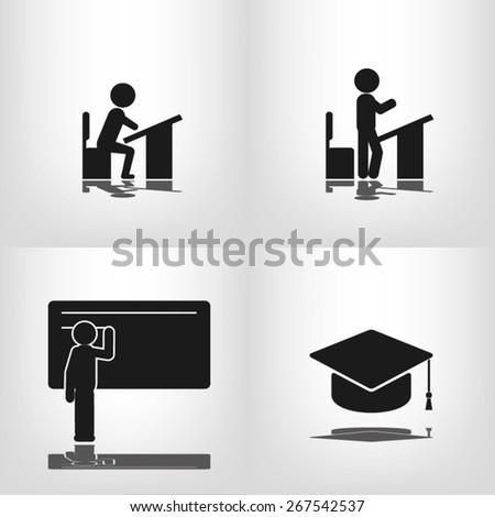 pupil desk chair cap - stock vector
