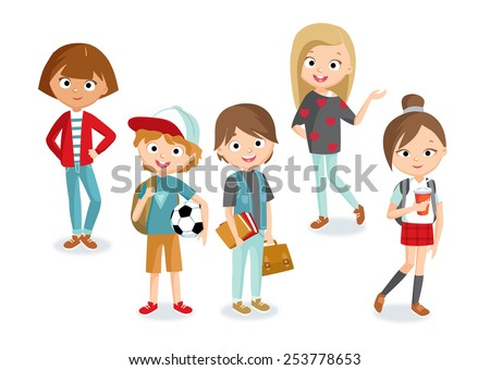 pupils boys and girls - stock vector