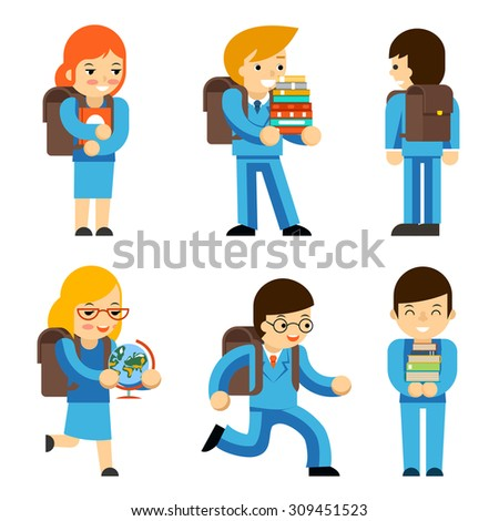 Pupils children with textbooks and school bags - stock vector