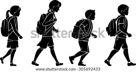 Pupils with Backpack Going to School Silhouette  - stock vector