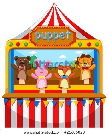 Puppet show and stage illustration - stock vector