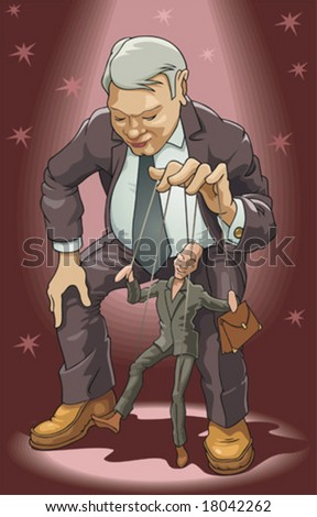 Puppeteer. The man operates a puppet. - stock vector