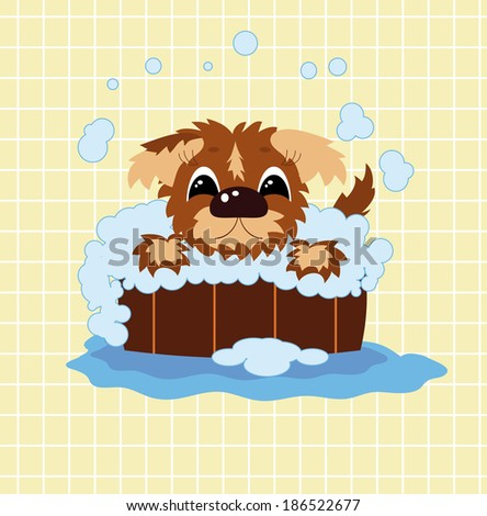 Puppy bathes in the barrel - stock vector