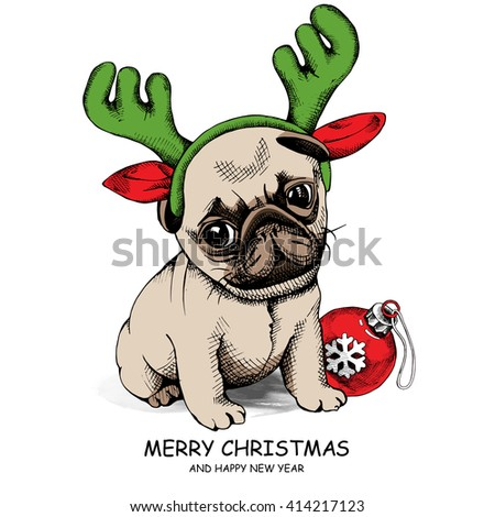 Puppy dog Pug in a Santa's Reindeer Antler and with a Christmas toy ball. Vector illustration. - stock vector