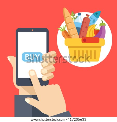 Purchase food using mobile app. Smartphone screen with buy button and supermarket basket full of food. Modern concept for web banners, web sites, infographics. Creative flat design vector illustration - stock vector