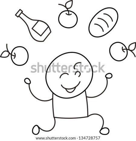 purchase - vector illustration, subject groceries variety of products for life support - stock vector