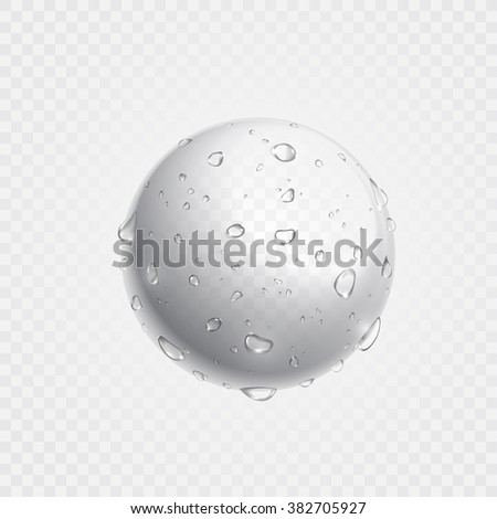 Pure clear water drops on sphere surface. Vector illustration of realistic droplets spray on transparent background. Fresh beverage splash concept. - stock vector