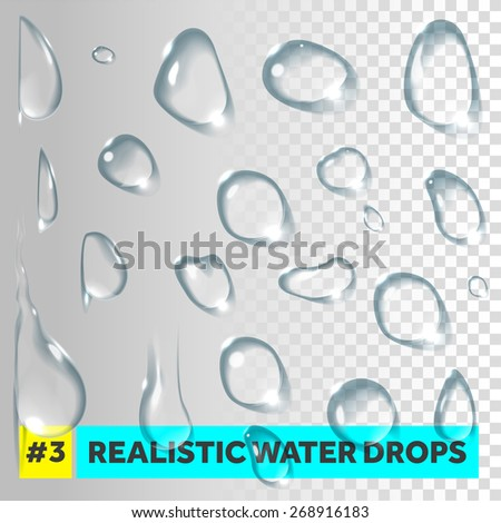 Pure clear water drops realistic set. Vector illustration - stock vector