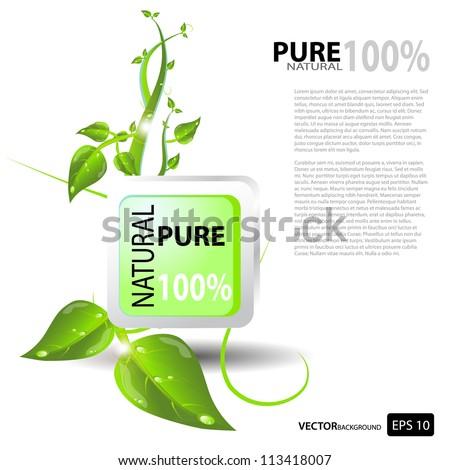 Pure & Natural Button, nature design - stock vector