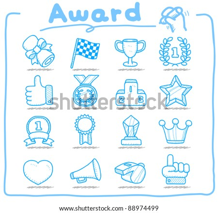 Pure series | Hand drawn award icon set - stock vector