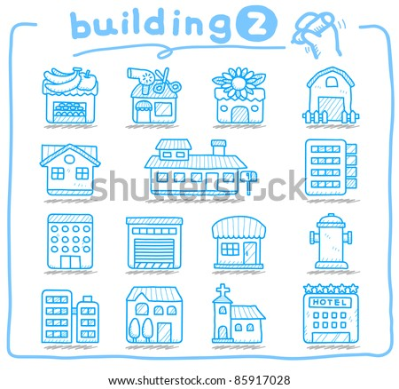 Pure series | hand drawn european houses, buildings,store ,travel icons, - stock vector