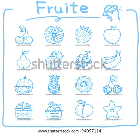 Pure series | Hand drawn fruit icon set - stock vector