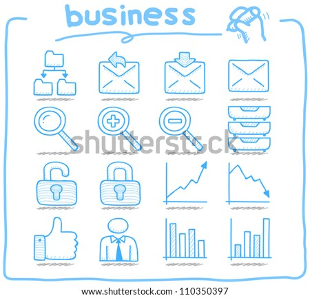 Pure Series | Hand drawn internet,business icon set - stock vector
