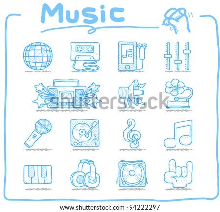 Pure series | Hand drawn music icon set - stock vector