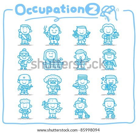 Pure series | Hand drawn occupation,business,job,worker,people icon set - stock vector