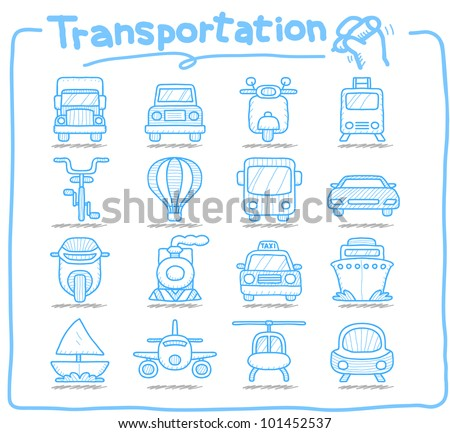 Pure Series | Hand drawn Transportation ,car,icon set - stock vector