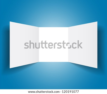 Pure white booklet on blue background - stock vector