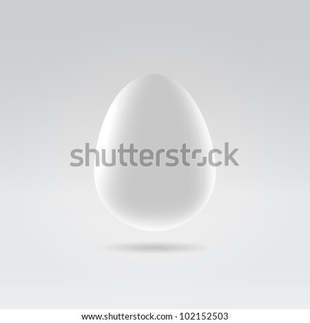 Pure white egg hanging in space studio closeup illustration - stock vector