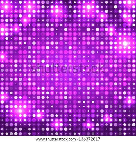 Purple abstract sparkling disco background with circles - stock vector
