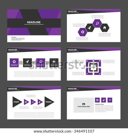 Purple and Black presentation template Infographic elements flat design set for brochure flyer leaflet marketing advertising - stock vector