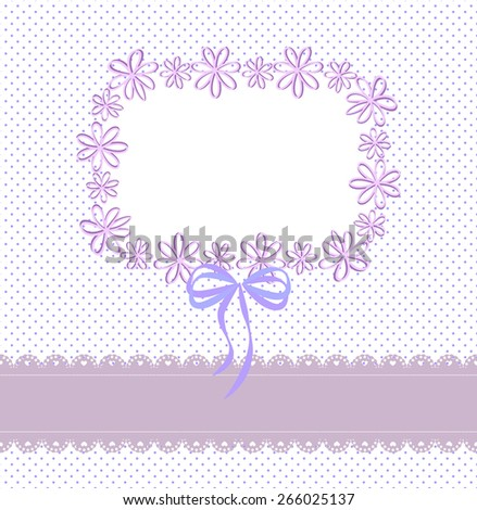 Purple and blue background with lace ribbon, a pattern of small circles and the frame  - stock vector