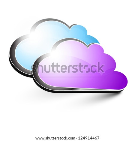 purple and blue clouds - stock vector
