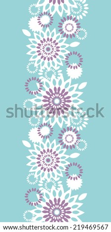 Purple and blue floral abstract vertical seamless pattern background - stock vector