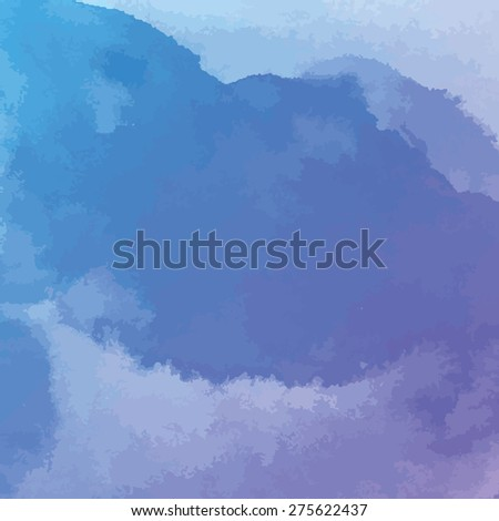 purple and blue watercolor texture background, hand painted vector illustration - stock vector