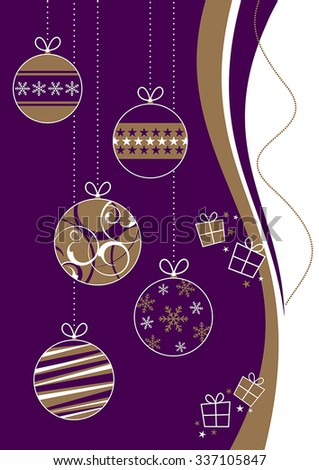 Purple and gold Christmas baubles with gift boxes - stock vector