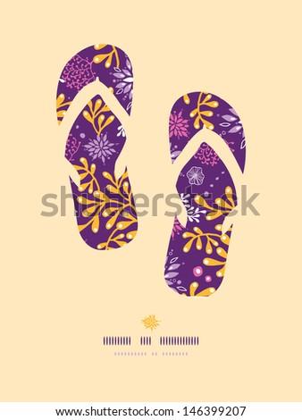 Purple and gold underwater plants flip flops pattern background - stock vector