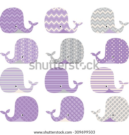 Purple  and Grey Cute Whale Collections - stock vector