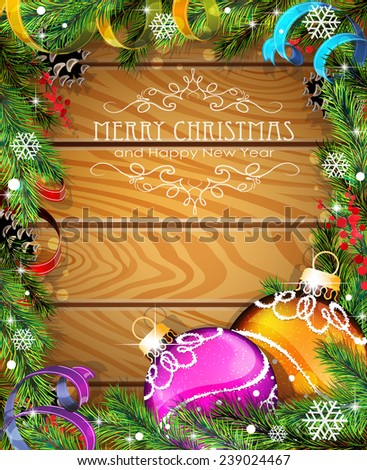 Purple and orange Christmas balls, cones, berries and fir tree branches on wooden background - stock vector