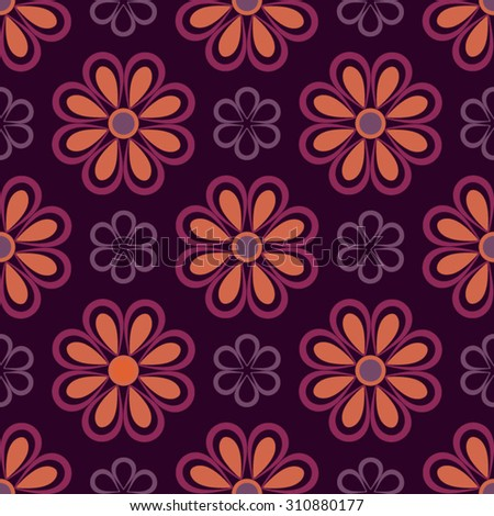 Purple and orange spring flowers on pink background. Eps10 vector. - stock vector