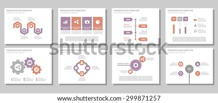 Purple and red Multipurpose Presentation template brochure flyer flat design set for marketing and advertising 3 - stock vector