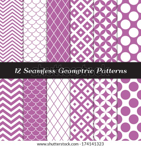 Purple and White Retro Geometric Seamless Patterns. Orchid Color Mod Backgrounds in Jumbo Polka Dot, Diamond Lattice, Scallops, Quatrefoil and Chevron. Pattern Swatches made with Global Colors. - stock vector