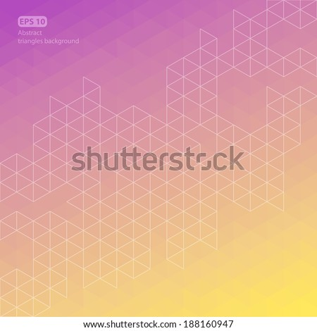 Purple and yellow abstract triangle line background, vector illustration - stock vector