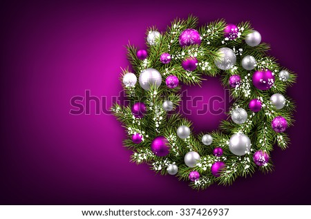 Purple background with Christmas wreath. Vector illustration. - stock vector
