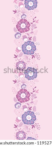 Purple Blossom Flowers Vertical Seamless Pattern Border - stock vector