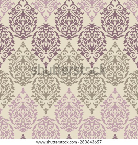 Purple, brown and pink antique baroque vintage seamless pattern on beige background - stock vector