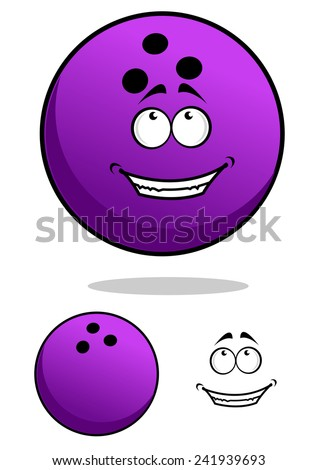 Purple cartoon bowling ball character with happy smiling face and another one with separated elements - stock vector