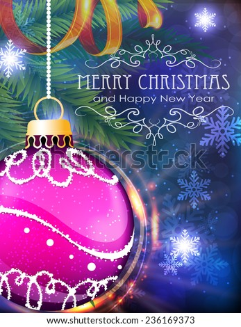 Purple Christmas bauble with sparkles and fir branches on blue background - stock vector