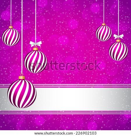 Purple Christmas card with Christmas balls. - stock vector
