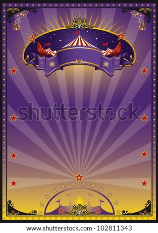 Purple circus. A purple and orange circus poster for your advertising. - stock vector