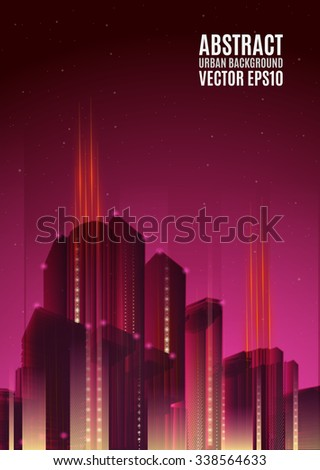 Purple city skyline at night. Graphical urban cityscape - stock vector